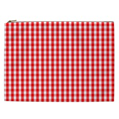 Christmas Red Velvet Large Gingham Check Plaid Pattern Cosmetic Bag (xxl)  by PodArtist