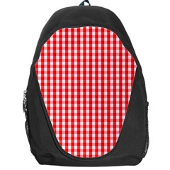 Christmas Red Velvet Large Gingham Check Plaid Pattern Backpack Bag by PodArtist