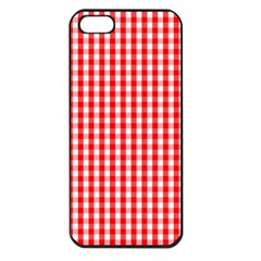 Christmas Red Velvet Large Gingham Check Plaid Pattern Apple Iphone 5 Seamless Case (black) by PodArtist