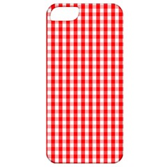 Christmas Red Velvet Large Gingham Check Plaid Pattern Apple Iphone 5 Classic Hardshell Case