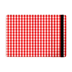 Christmas Red Velvet Large Gingham Check Plaid Pattern Apple Ipad Mini Flip Case by PodArtist