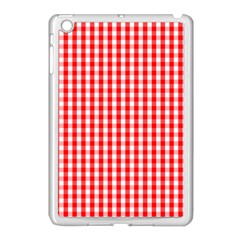 Christmas Red Velvet Large Gingham Check Plaid Pattern Apple Ipad Mini Case (white) by PodArtist