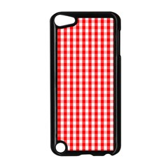 Christmas Red Velvet Large Gingham Check Plaid Pattern Apple Ipod Touch 5 Case (black) by PodArtist