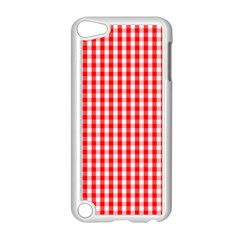 Christmas Red Velvet Large Gingham Check Plaid Pattern Apple Ipod Touch 5 Case (white) by PodArtist