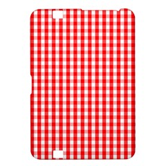 Christmas Red Velvet Large Gingham Check Plaid Pattern Kindle Fire Hd 8 9  by PodArtist