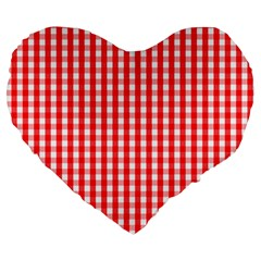 Christmas Red Velvet Large Gingham Check Plaid Pattern Large 19  Premium Heart Shape Cushions by PodArtist