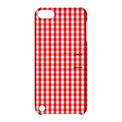 Christmas Red Velvet Large Gingham Check Plaid Pattern Apple Ipod Touch 5 Hardshell Case With Stand by PodArtist