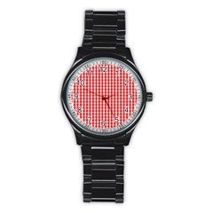 Christmas Red Velvet Large Gingham Check Plaid Pattern Stainless Steel Round Watch by PodArtist