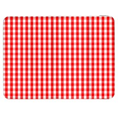 Christmas Red Velvet Large Gingham Check Plaid Pattern Samsung Galaxy Tab 7  P1000 Flip Case
