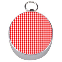 Christmas Red Velvet Large Gingham Check Plaid Pattern Silver Compasses by PodArtist
