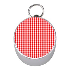 Christmas Red Velvet Large Gingham Check Plaid Pattern Mini Silver Compasses by PodArtist