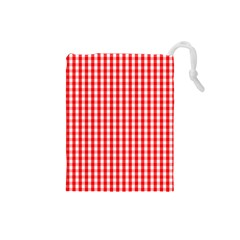 Christmas Red Velvet Large Gingham Check Plaid Pattern Drawstring Pouches (small)  by PodArtist