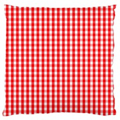 Christmas Red Velvet Large Gingham Check Plaid Pattern Large Flano Cushion Case (one Side) by PodArtist