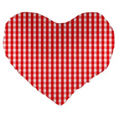 Christmas Red Velvet Large Gingham Check Plaid Pattern Large 19  Premium Flano Heart Shape Cushions by PodArtist