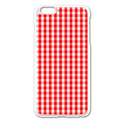 Christmas Red Velvet Large Gingham Check Plaid Pattern Apple Iphone 6 Plus/6s Plus Enamel White Case by PodArtist
