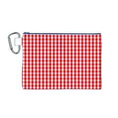 Christmas Red Velvet Large Gingham Check Plaid Pattern Canvas Cosmetic Bag (m) by PodArtist
