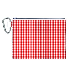 Christmas Red Velvet Large Gingham Check Plaid Pattern Canvas Cosmetic Bag (l) by PodArtist