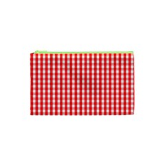Christmas Red Velvet Large Gingham Check Plaid Pattern Cosmetic Bag (xs) by PodArtist