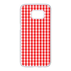 Christmas Red Velvet Large Gingham Check Plaid Pattern Samsung Galaxy S7 Edge White Seamless Case by PodArtist