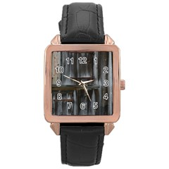 Alpine Hut Almhof Old Wood Grain Rose Gold Leather Watch