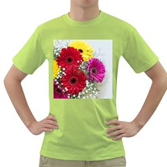 Flowers Gerbera Floral Spring Green T Shirt