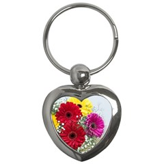 Flowers Gerbera Floral Spring Key Chains (heart)  by BangZart