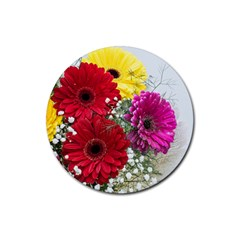 Flowers Gerbera Floral Spring Rubber Round Coaster (4 Pack)