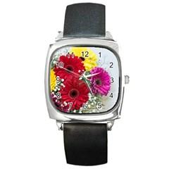 Flowers Gerbera Floral Spring Square Metal Watch