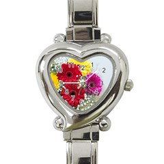 Flowers Gerbera Floral Spring Heart Italian Charm Watch by BangZart