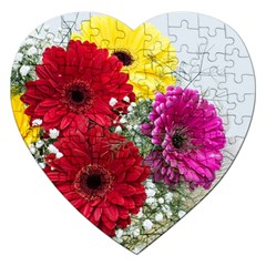 Flowers Gerbera Floral Spring Jigsaw Puzzle (heart) by BangZart