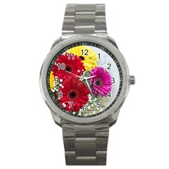 Flowers Gerbera Floral Spring Sport Metal Watch by BangZart