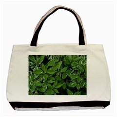 Texture Leaves Light Sun Green Basic Tote Bag by BangZart
