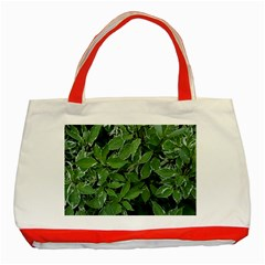 Texture Leaves Light Sun Green Classic Tote Bag (red) by BangZart