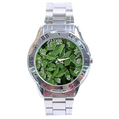 Texture Leaves Light Sun Green Stainless Steel Analogue Watch by BangZart