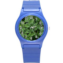 Texture Leaves Light Sun Green Round Plastic Sport Watch (s) by BangZart