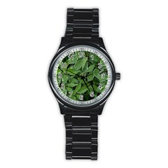 Texture Leaves Light Sun Green Stainless Steel Round Watch by BangZart