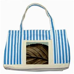 Leaf Veins Nerves Macro Closeup Striped Blue Tote Bag by BangZart