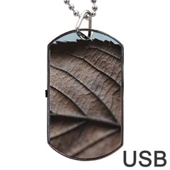 Leaf Veins Nerves Macro Closeup Dog Tag Usb Flash (one Side) by BangZart
