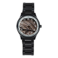Leaf Veins Nerves Macro Closeup Stainless Steel Round Watch by BangZart