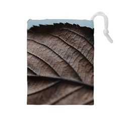 Leaf Veins Nerves Macro Closeup Drawstring Pouches (large)  by BangZart
