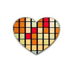 Mozaico Colors Glass Church Color Rubber Coaster (heart)  by BangZart