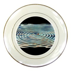 Wave Concentric Waves Circles Water Porcelain Plates by BangZart