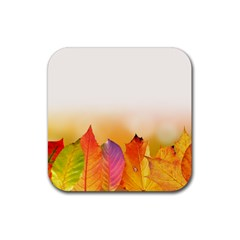 Autumn Leaves Colorful Fall Foliage Rubber Square Coaster (4 Pack)  by BangZart