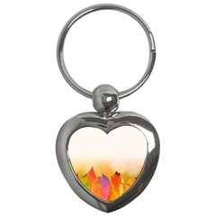 Autumn Leaves Colorful Fall Foliage Key Chains (heart)  by BangZart