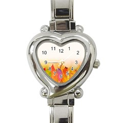 Autumn Leaves Colorful Fall Foliage Heart Italian Charm Watch by BangZart
