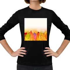 Autumn Leaves Colorful Fall Foliage Women s Long Sleeve Dark T Shirts