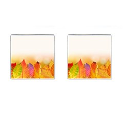 Autumn Leaves Colorful Fall Foliage Cufflinks (square) by BangZart