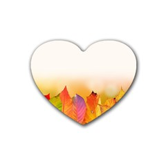 Autumn Leaves Colorful Fall Foliage Heart Coaster (4 Pack)  by BangZart