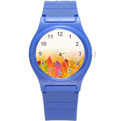 Autumn Leaves Colorful Fall Foliage Round Plastic Sport Watch (s) by BangZart
