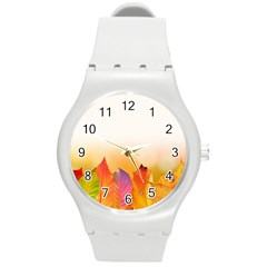 Autumn Leaves Colorful Fall Foliage Round Plastic Sport Watch (m) by BangZart